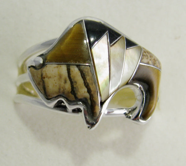 Bison Ring Sterling Silver   size 9