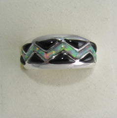 Black onyx and Opal Ring Sterling Silver   size 8 TSC037
