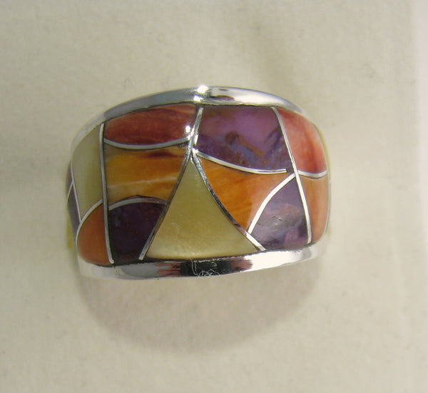 Multi Stone Ring Sterling Silver   size 6.5 TSC036