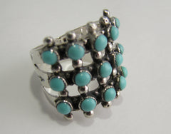 Turquoise Petit Point Ring Sterling Silver   size 5.75 TSC047