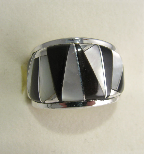 Black onyx and Mother Pearl Ring Sterling Silver   size 5.5