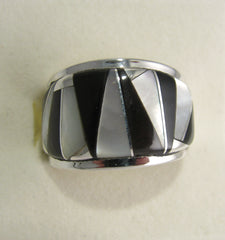 Black onyx and Mother Pearl Ring Sterling Silver   size 5.5 TSC040