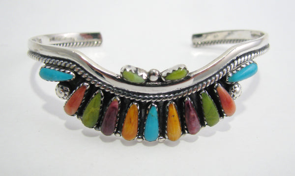 Multi Stone Inlay Sterling Silver Bracelet