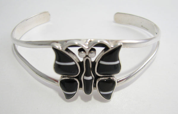 Butterfly Black Onyx Stone Inlay Sterling Silver Bracelet