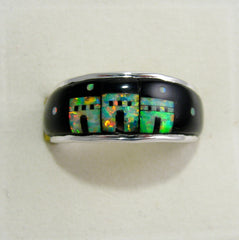 Black onyx and Opal Ring Sterling Silver   size 9 TSC041