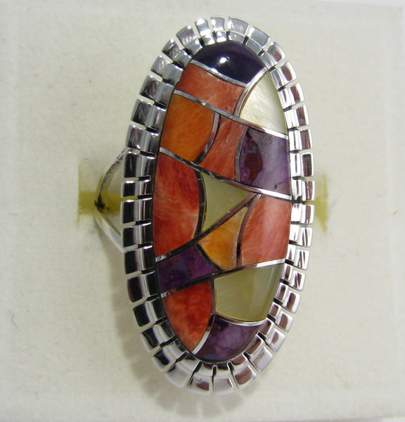 Multi Stone Ring Sterling Silver   size 6.5