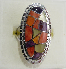 Multi Stone Ring Sterling Silver   size 6.5 TSC044