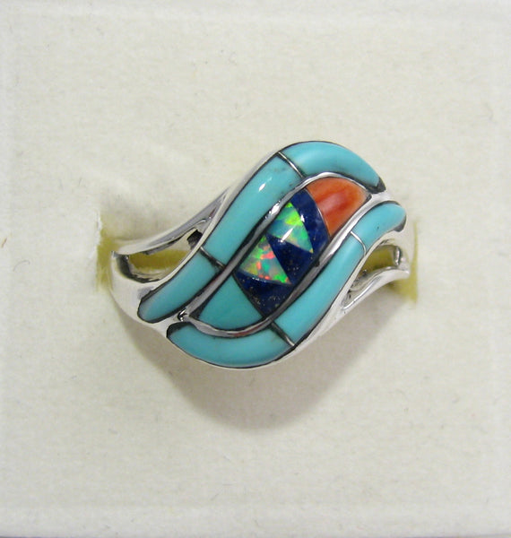 Multi Stone Ring Sterling Silver   size 7.5