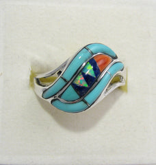 Multi Stone Ring Sterling Silver   size 9 TSC042