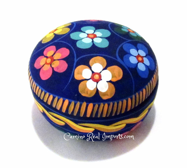 Round Clay Jewelry Box hand painted Flowers caminorealimports.com