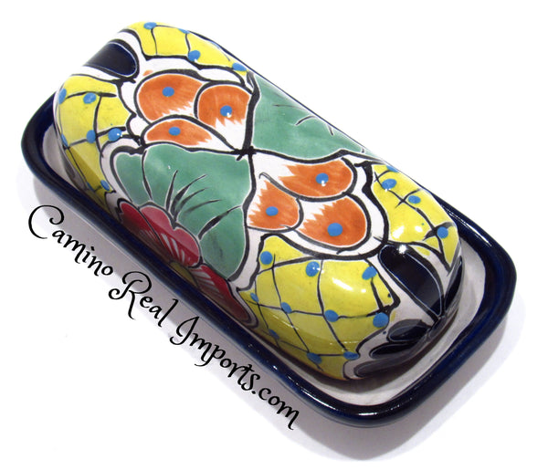 Talavera Pottery Butter Dish Hand Painted CaminoRealImports.com