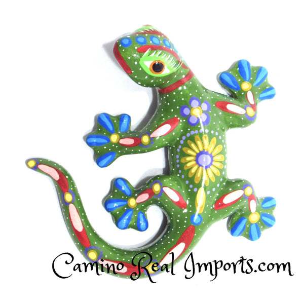 Hand Painted Clay Gecko Lizard CaminoRealImports.com