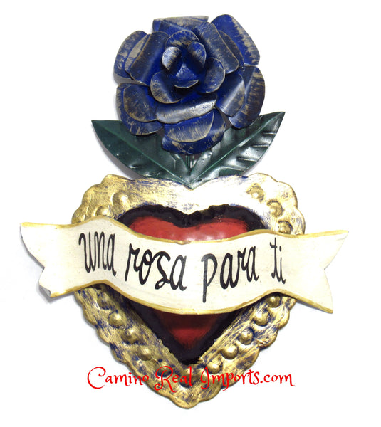 "8"" Wall Hanging Hand Punched Tin Heart CaminoRealImports.com"