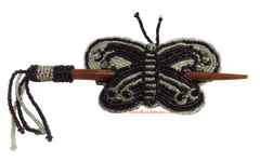 Beaded Butterfly Hair Barrette Hand Made With Slide Stick BBB009