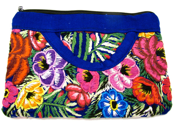 COIN PURSE HAND EMBROIDERED FLOWERS