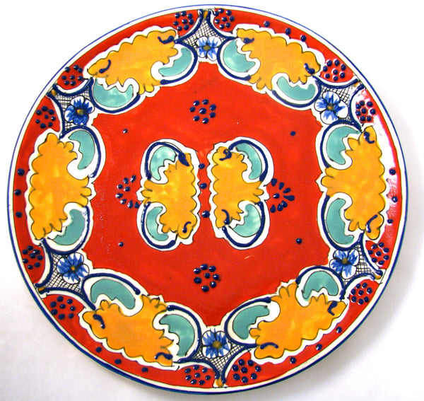 MEXICAN WALL HANGING TALAVERA POTTERY PLATE 12""