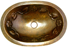 OVAL COPPER SINK WITH FLOWER DECOR