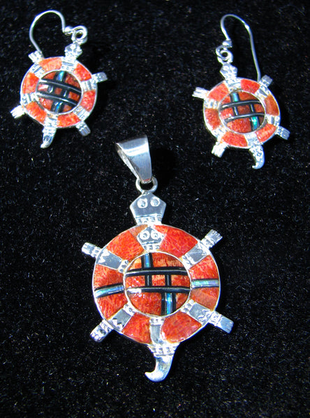 Sterling Silver Turtle Set Red Sponge Coral Pendant and Earrings