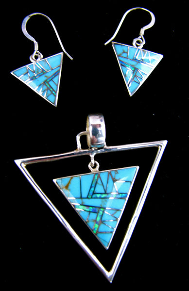 Sterling Silver Set Turquoise and Opal Inlay Triangle Pendant and Earrings