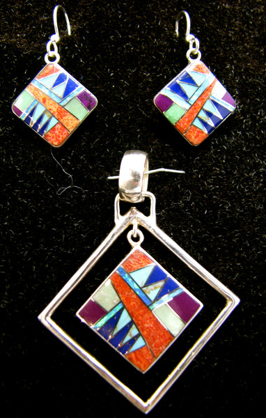 Sterling Silver Set Multi Stone Inlay Square Pendant and Earrings