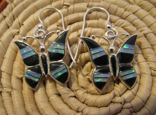 Butterfly Earrings Sterling Silver Black Onix and Opal Inlay