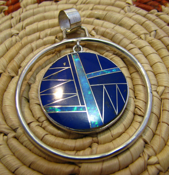 Sterling Silver Lapis Lazuli and Opal Inlay Round Pendant