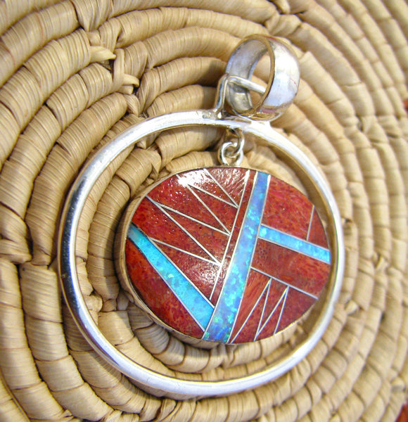 Sterling Silver Red Sponge Coral and Opal Inlay Oval Pendant