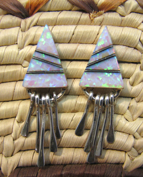 Sterling Silver Opal Inlay Earrings TSC052