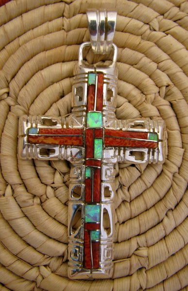 Sterling Silver Red Sponge Coral Inlay Cross Pendant