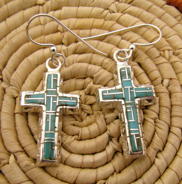 Sterling Silver Turquoise Inlay Cross Earrings
