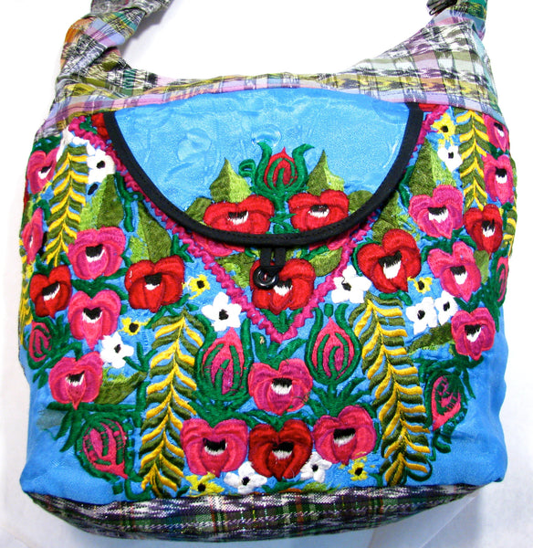 GUATEMALA PURSE HAND EMBROIDERED FLOWERS HOBO BAG X-LARGE