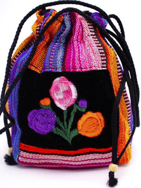 GUATEMALA POUCH PURSE with FLOWERS GPP010