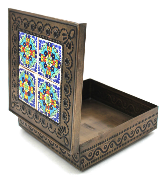 Hand Made Mexican Decorative Tin Jewelry Box w/ Tiles MDTB010