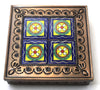 Hand Made Mexican Decorative Tin Jewelry Box w/ Tiles MDTB012