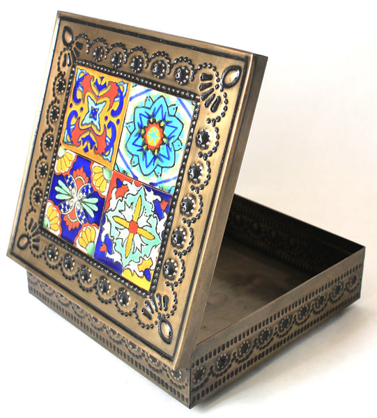 Hand Made Mexican Decorative Tin Jewelry Box w/ Tiles MDTB013
