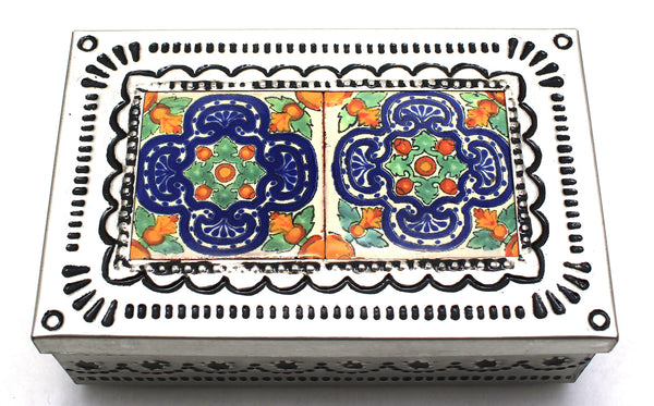 Hand Made Mexican Decorative Tin Jewelry Box w/ Tiles MTBS023
