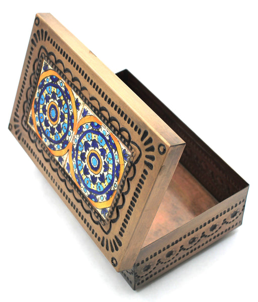 Hand Made Mexican Decorative Tin Jewelry Box w/ Tiles MTBC025