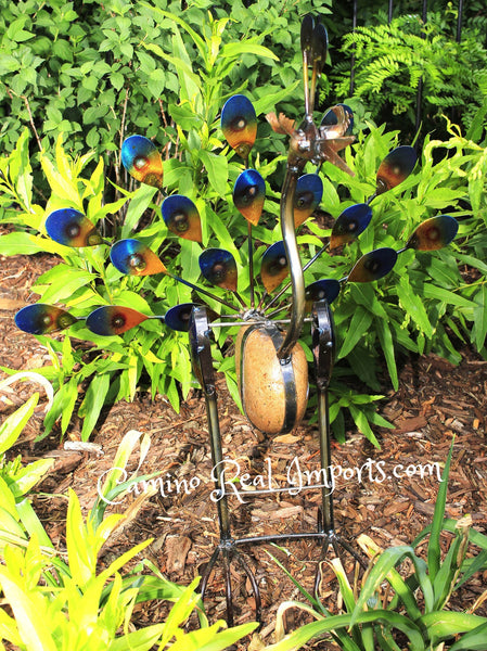 Metal Rock Rocking Peacock Yard Garden Ornament Caminorealimports.com