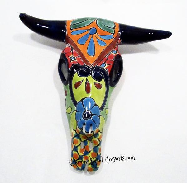MEXICAN WALL HANGING TALAVERA POTTERY COW SKULL caminorealimports.com