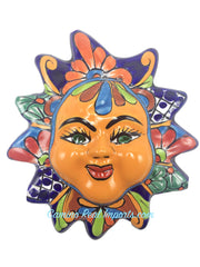 "Mexican Wall Hanging Talavera Pottery Sun Face 8"" TSF8003"