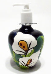 Mexican Talavera Lily Lotion or Soap Dispenser TD006