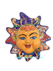 "Mexican Wall Hanging Talavera Pottery Sun Face 8"" TSF8004"