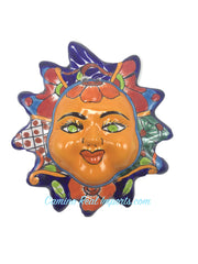 "Mexican Wall Hanging Talavera Pottery Sun Face 8"" TSF8005"