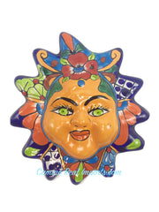 "Mexican Wall Hanging Talavera Pottery Sun Face 8"" TSF8006"