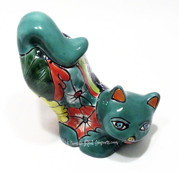 Talavera Pottery Cat Sculpture caminorealimports.com