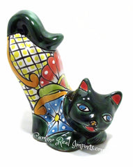 Talavera Pottery Cat Sculpture  TCS8006