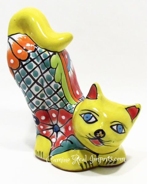 Talavera Hand Painted Pottery Cat Statue Caminorealimports.com