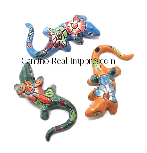 Set of 3 Mexican Wall Hanging Talavera Pottery Iguana Lizard  Caminorealimports.com