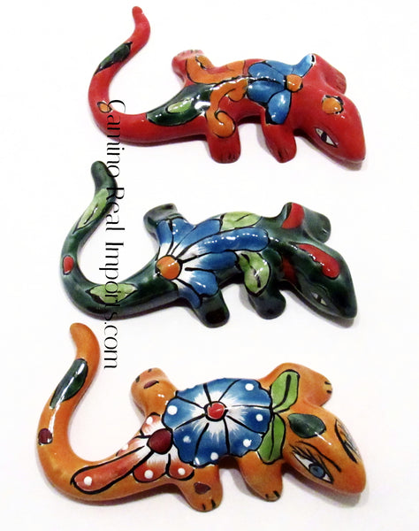 Set of 3 Mexican Wall Hanging Talavera Pottery Iguana Lizard Gecko caminorealimports.com