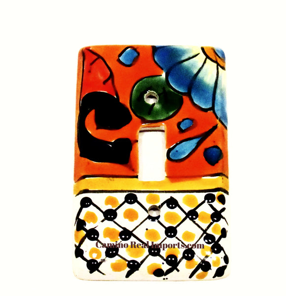 Mexican Talavera Pottery Single Toggle Switch Plate TTSP002